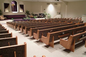 custom oak church pews