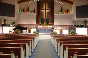 pews at First Baptist Church – Vandalia, OH